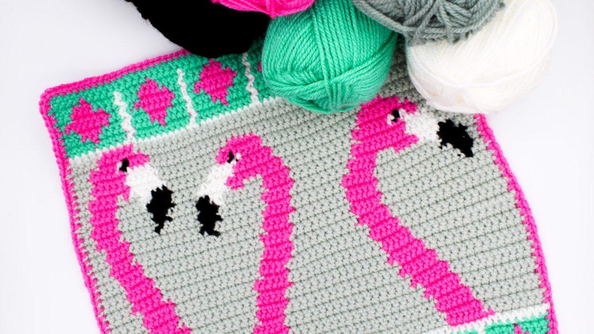 Kostenlose Häkelanleitung Intarsien mit Flamingos