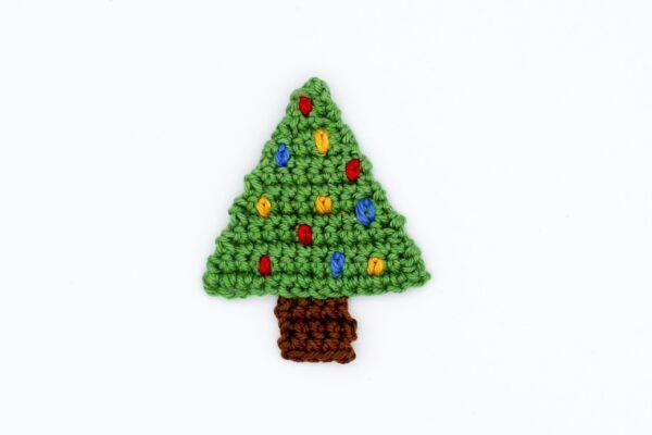 Häkelanleitung Applikation Weihnachtsbaum
