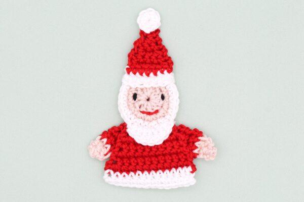 Häkelanleitung Applikation Weihnachtsmann