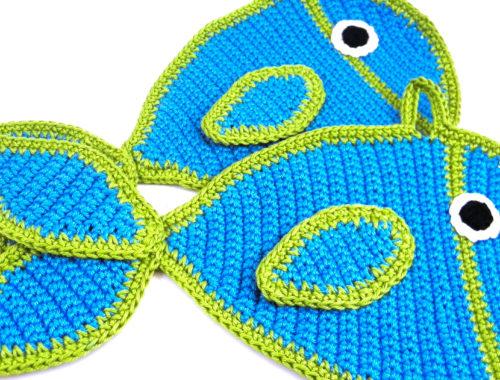Titel Kostenlose Häkelanleitung Topflappen Fische