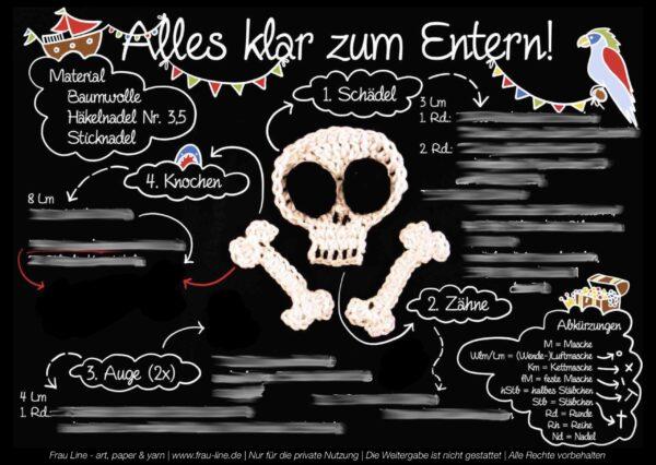 Vorschau Frau Line Häkelanleitung Applikation Totenkopf