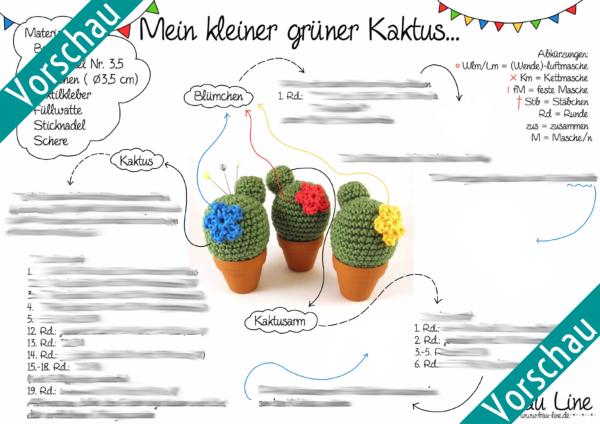 Vorschau Frau Line Häkelanleitung Nadelkissen Kaktus
