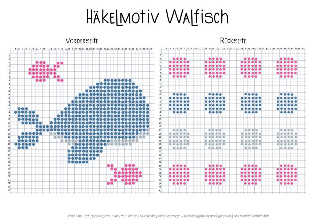 Frau Line Häkelmotiv Walfisch Vorlage