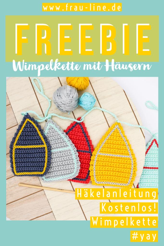 Kostenlose Pin Anleitung Frau Line Häkelwimpel Häuser