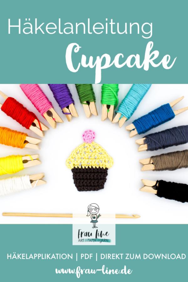 Pin Frau Line Häkelanleitung Applikation Cupcake