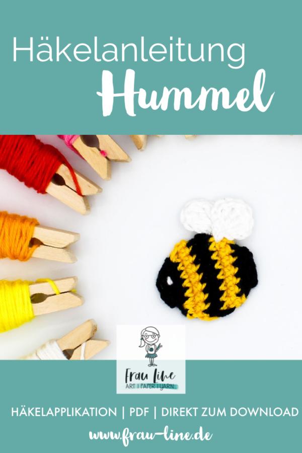 Pin Frau Line Häkelanleitung Applikation Hummel