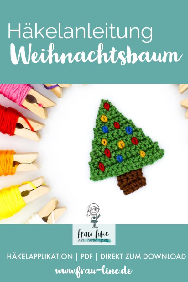 Pin Frau Line Häkelanleitung Applikation Weihnachtsbaum