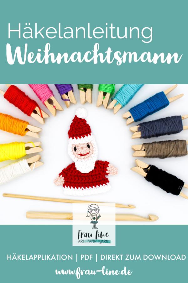 Pin Frau Line Häkelanleitung Applikation Weihnachtsmann