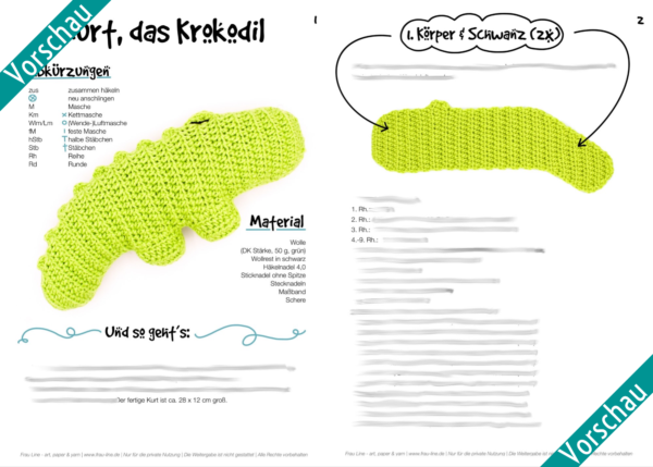 Vorschau Frau Line Häkelanleitung Amigurumi Kurt Krokodil