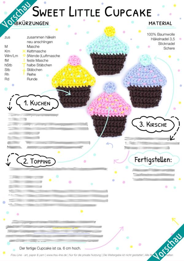 Vorschau Frau Line Häkelanleitung Cupcake