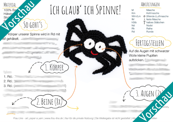 Vorschau Frau Line Häkelanleitung Spinne