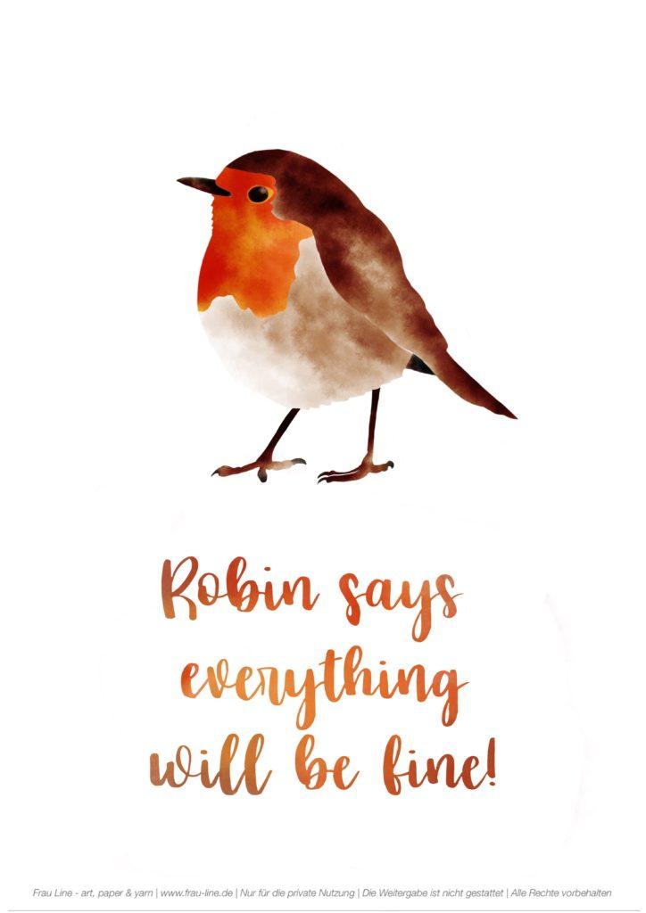 Frau Line Kostenloses Printable Rotkehlchen Vogel Lettering