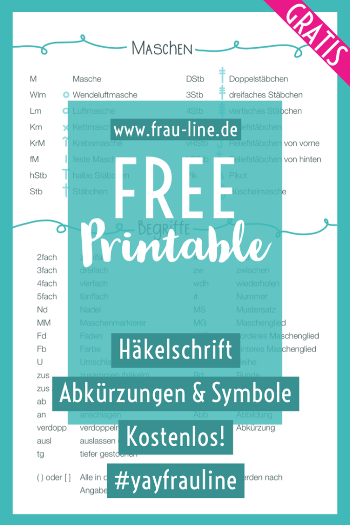 Pin Frau Line Häkelsymbole Abkürzungen Printable