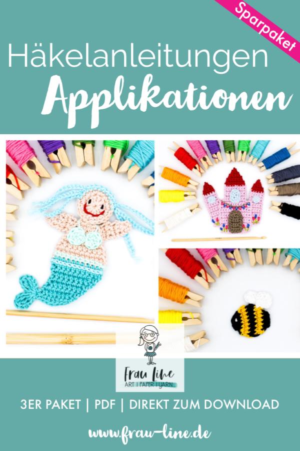 Frau Line Häkelanleitung Applikation Meerjungfrau Märchenschloss Hummel
