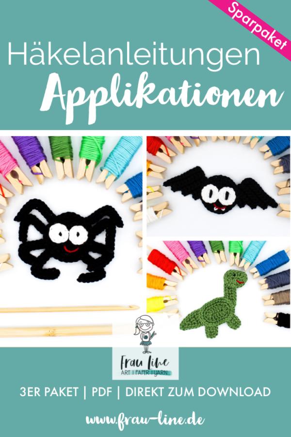 Frau Line Häkelanleitung Applikation Spinne Fledermaus Dinosaurier