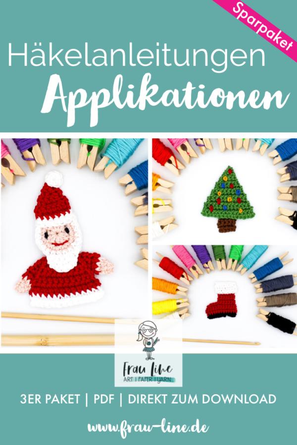 Frau Line Häkelanleitung Applikation Weihnachten