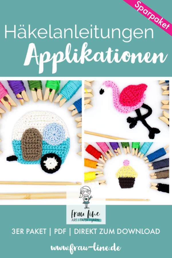Frau Line Häkelanleitung Applikation Wohnwagen Flamingo Cupcake