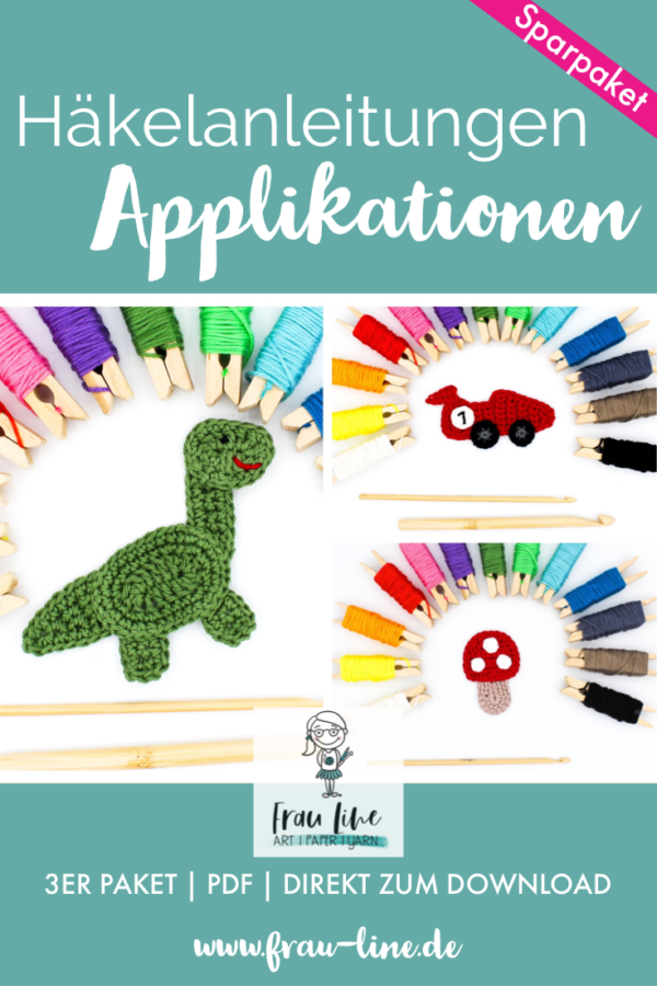 Pin Frau Line Häkelanleitung Applikation Dinosaurier Rennauto Pilze