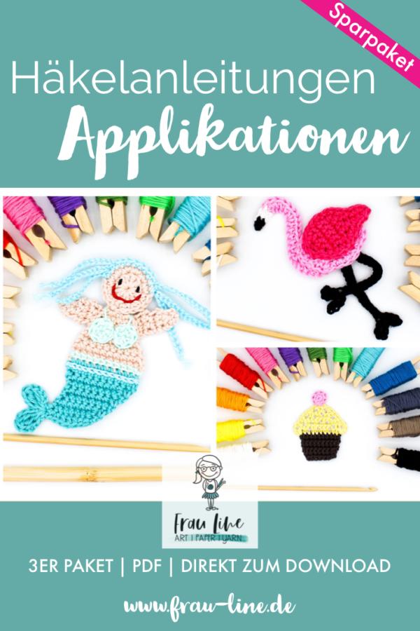Pin Frau Line Häkelanleitung Applikation Meerjungfrau Flamingo Cupcake