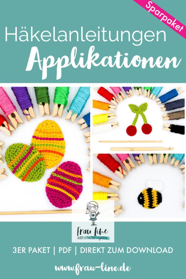 Pin Frau Line Häkelanleitung Applikation Ostereier Kirsche Hummel