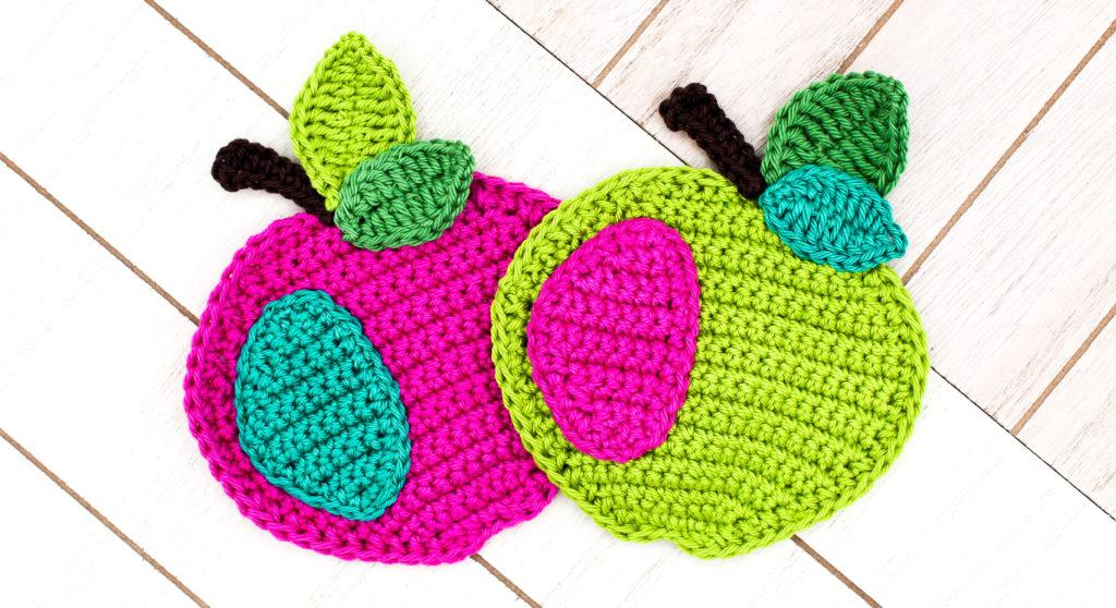 Frau Line kostenlose Häkelanleitung Applikation Apfel