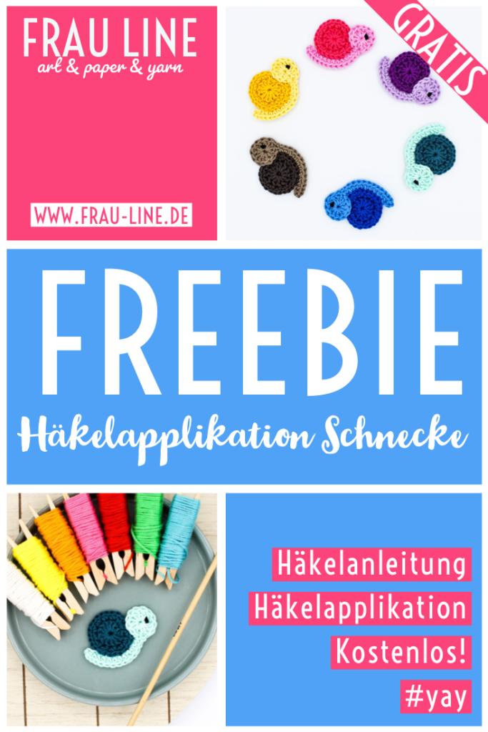Pin Frau Line Gratisanleitung Häkelapplikation Schnecke