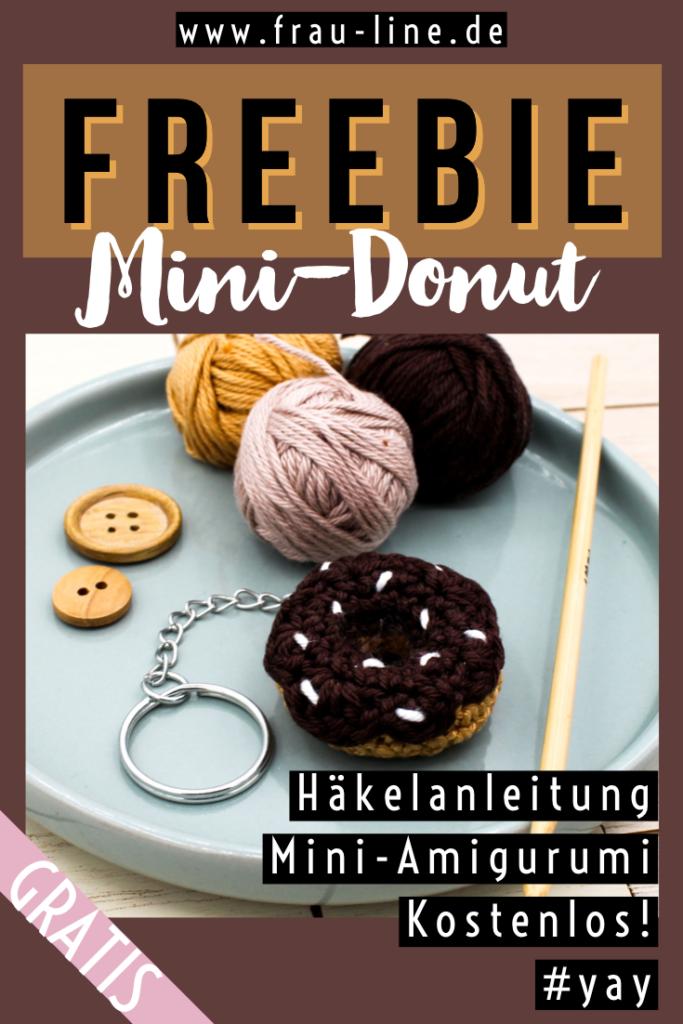 Pin Gratisanleitung gehäkelte mini Amigurumi Donut Schlüsselanhänger