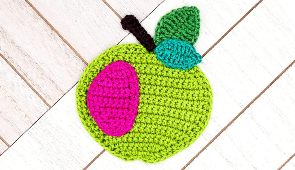 Frau Line Kostenlose Häkelanleitung Häkelapplikation Apfel