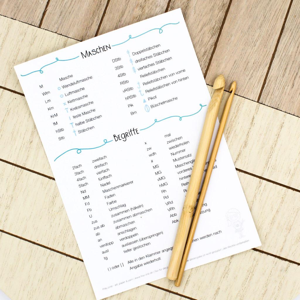 Frau Line Kostenloses Printable Häkelschrift Abkürzungen Symbole