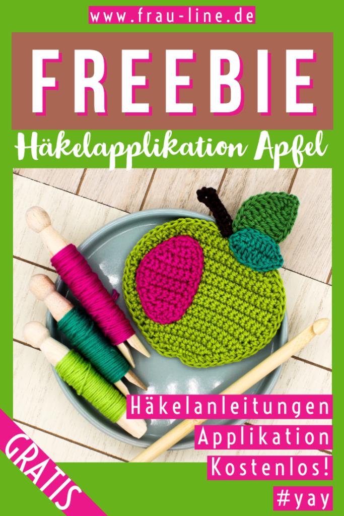 Pin Frau Line Kostenlose Häkelanleitung Häkelapplikation Apfel