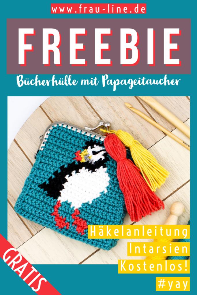 Pin Gratisanleitung Frau Line Cliptasche mit Papageitaucher häkeln Intarsien