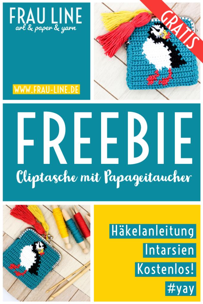 Pin Häkeanleitung Frau Line Cliptasche mit Papageitaucher häkeln Intarsien