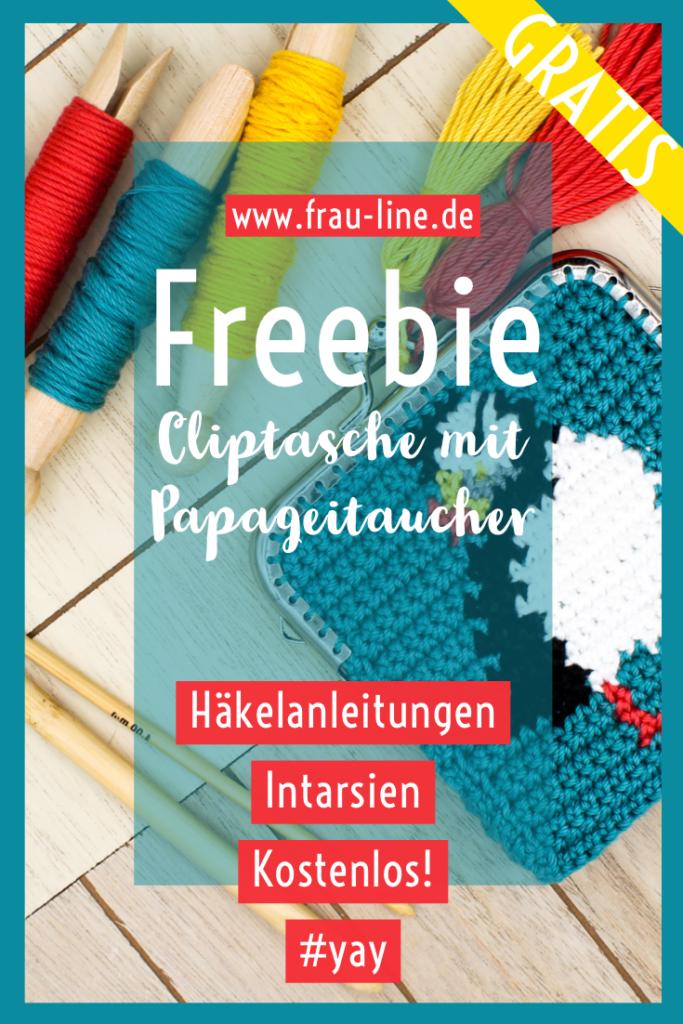 Pin Kostenlose Häkeanleitung Frau Line Cliptasche mit Papageitaucher Intarsien