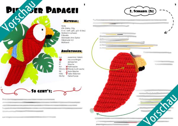 Vorschau Frau Line Anleitung gehäkelter Papagei