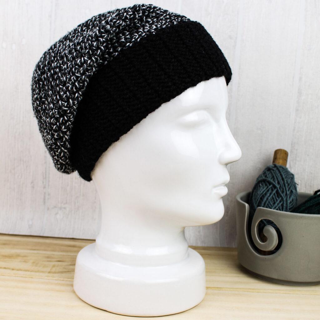 Frau Line Gratisanleitung gehäkelte Mütze mit Bündchen