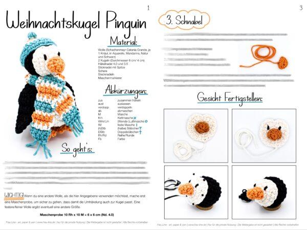 Vorschau Frau Line Häkelanleitung Weihnachtsbaumkugel Pinguin Amigurumi
