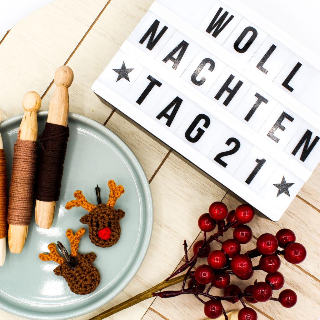 Frau Line Kostenlose Anleitung Schmuck häkeln Ohrringe Weihnachten Rentier