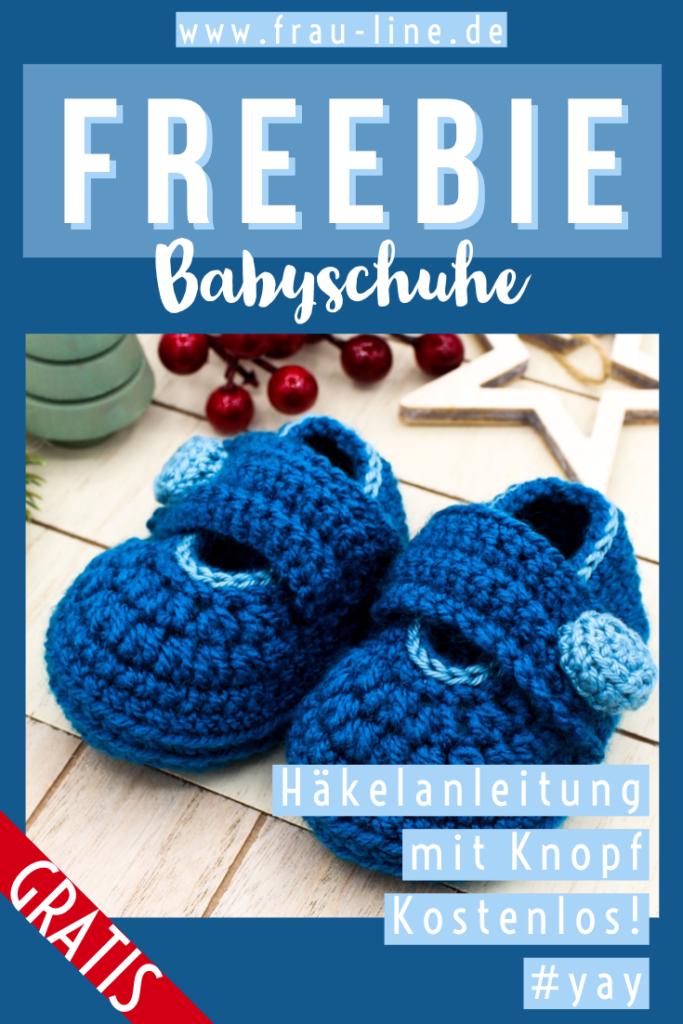 Pin Frau Line Gratisanleitung Babyschuhe häkeln mit Knopf