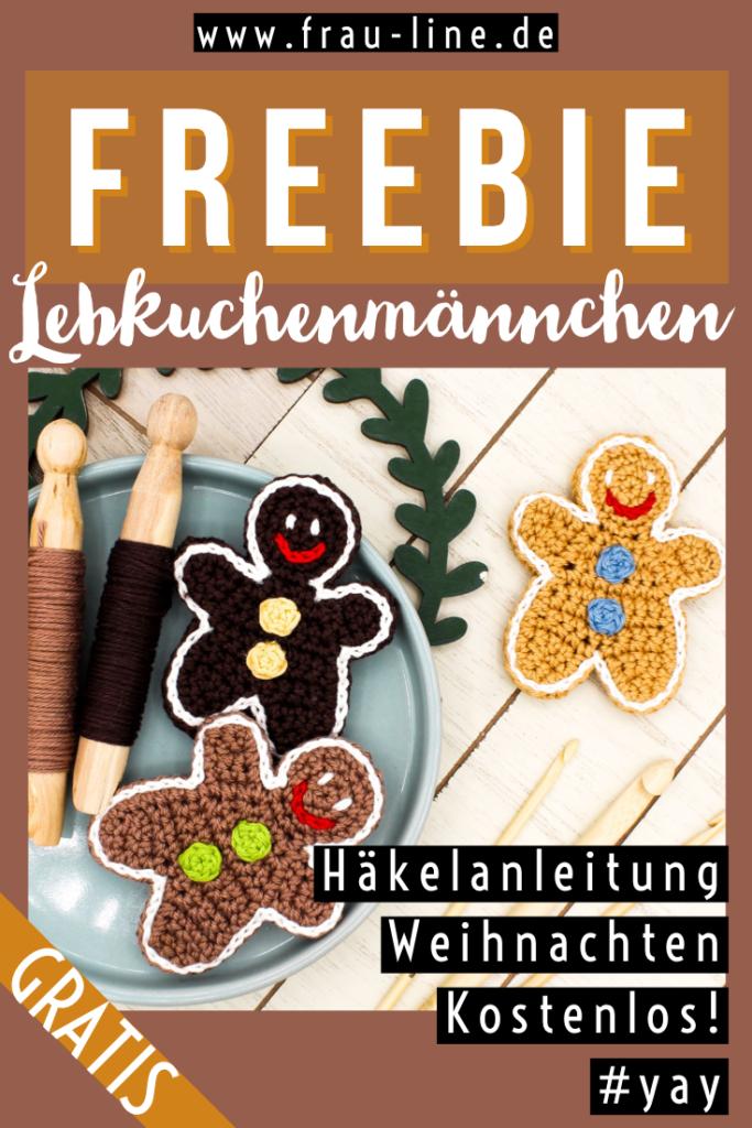 Pin Frau Line Gratisanleitung Häkelapplikation Lebkuchenmännchen