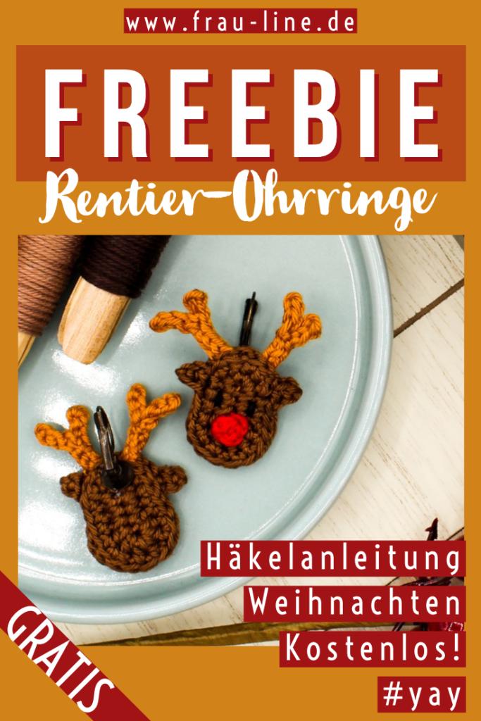 Pin Frau Line Gratisanleitung gehäkelte Weihnachten Ohrringe Rentier