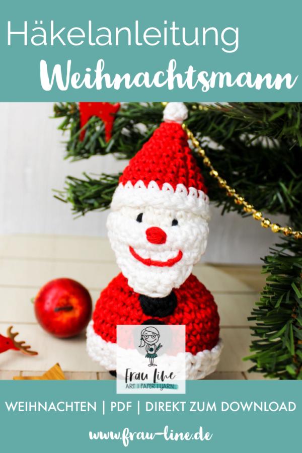Pin Frau Line Häkelanleitung Nikolaus WeihnachtsmannWeihnachtskugel
