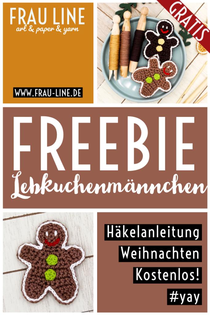Pin Frau Line Kostenlose Anleitung Häkelapplikation Pfeffermännchen häkeln