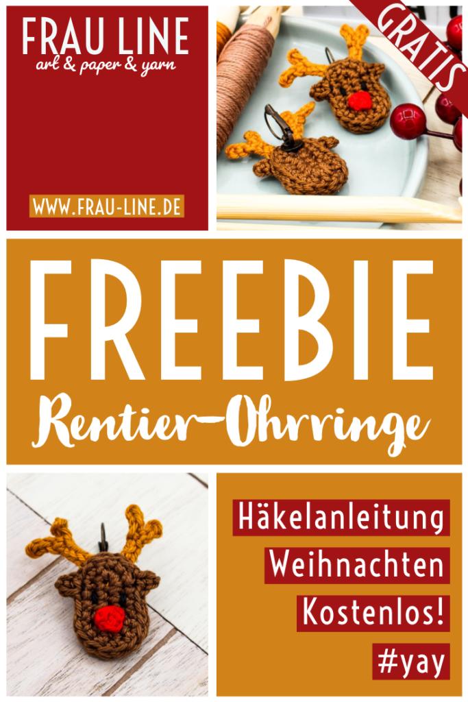Pin Frau Line Kostenlose Anleitung Schmuck häkeln Ohrringe Weihnachten Rentier