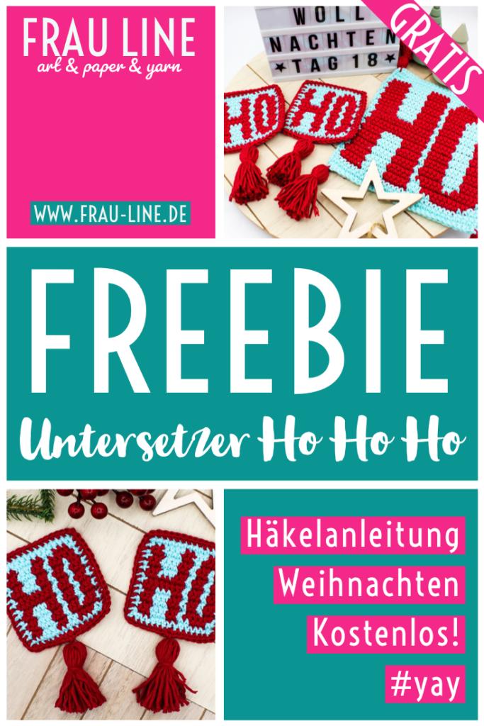 Pin Frau Line Kostenlose Anleitung Weihnachten Untersetzer häkeln Intarsien Ho Ho Ho