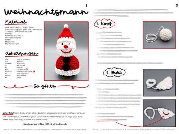 Vorschau Frau Line Häkelanleitung Nikolaus WeihnachtsmannWeihnachtskugel