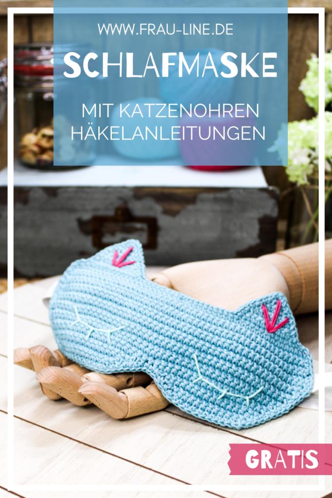 Pin Frau Line Kostenlose Häkelanleitung Schlafmaske mit Katzenohren